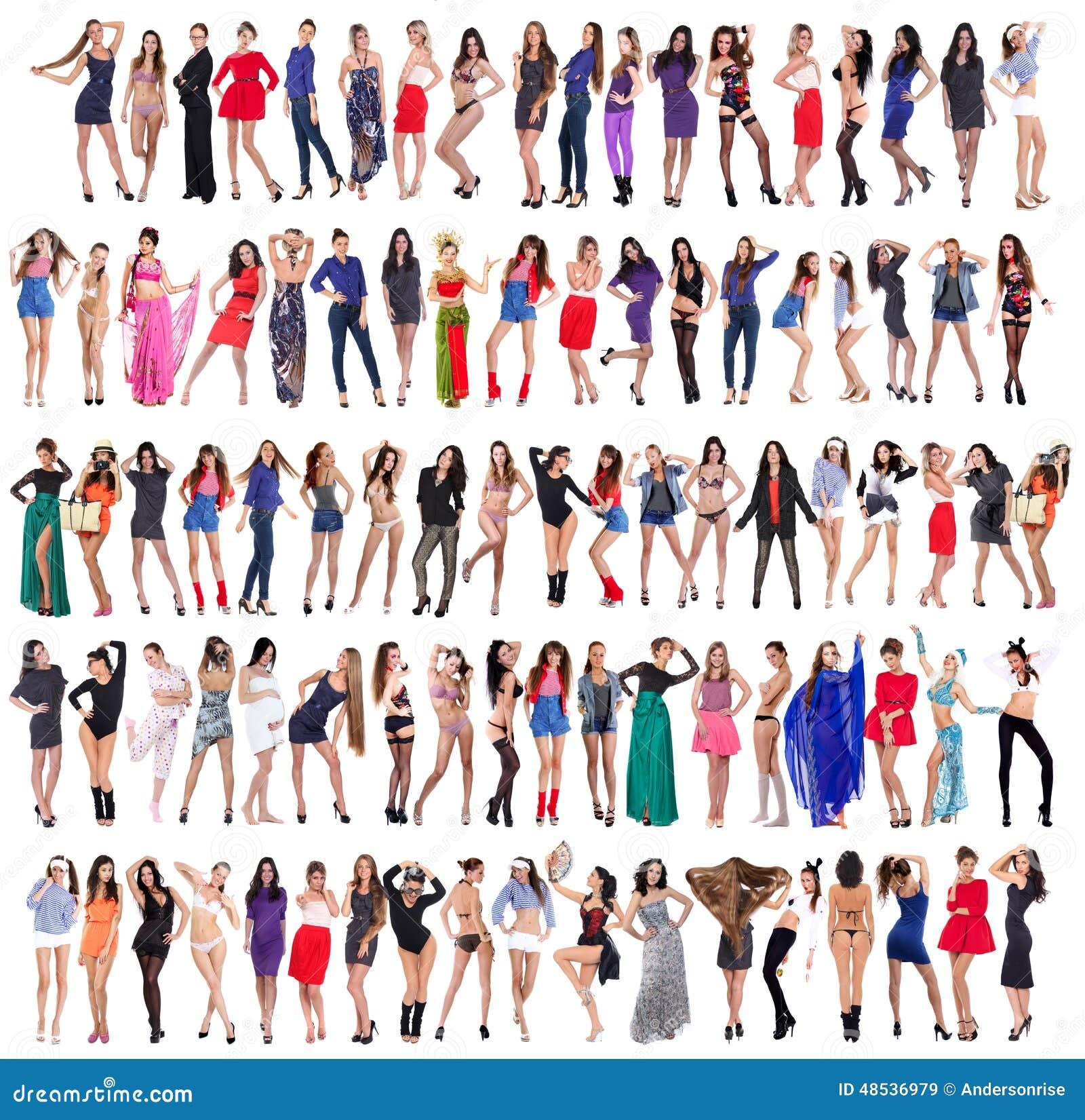 Full längd av härliga unga kvinnor