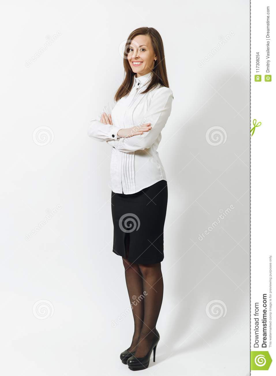 Beautiful caucasian young brown-hair business woman isolated on white background. Manager or worker. Copy space advertisement