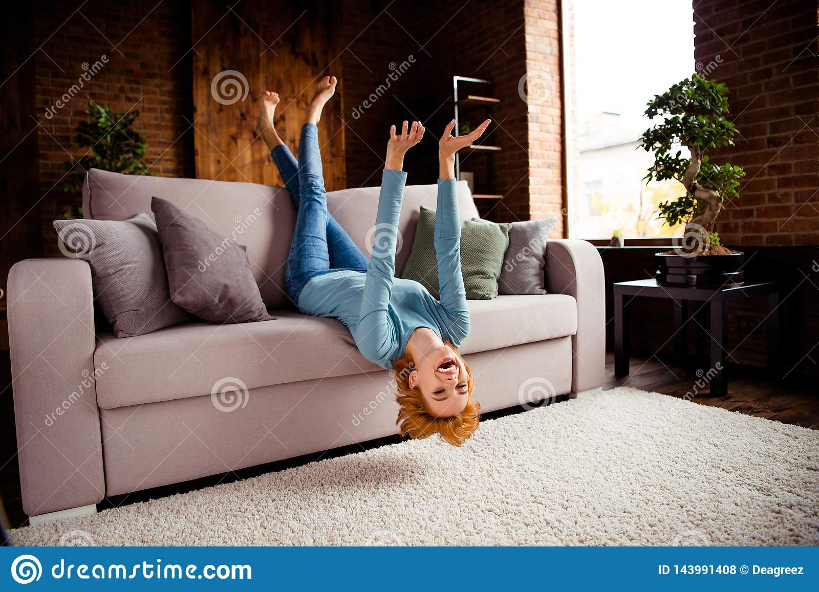 Full length body size photo beautiful she her lady hands arms legs raised upside down rejoicing having best day off wear