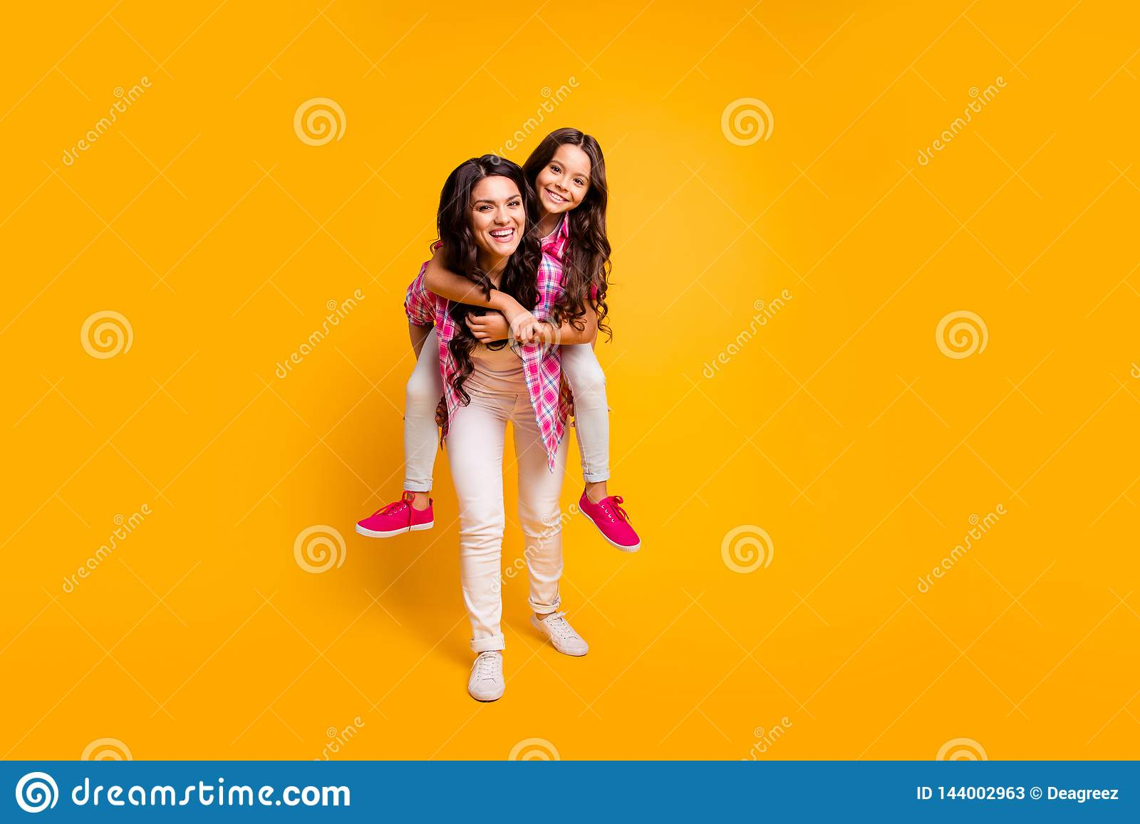 Full Length Body Size Photo Of Mom Kid Best Fellows Fellowship Have