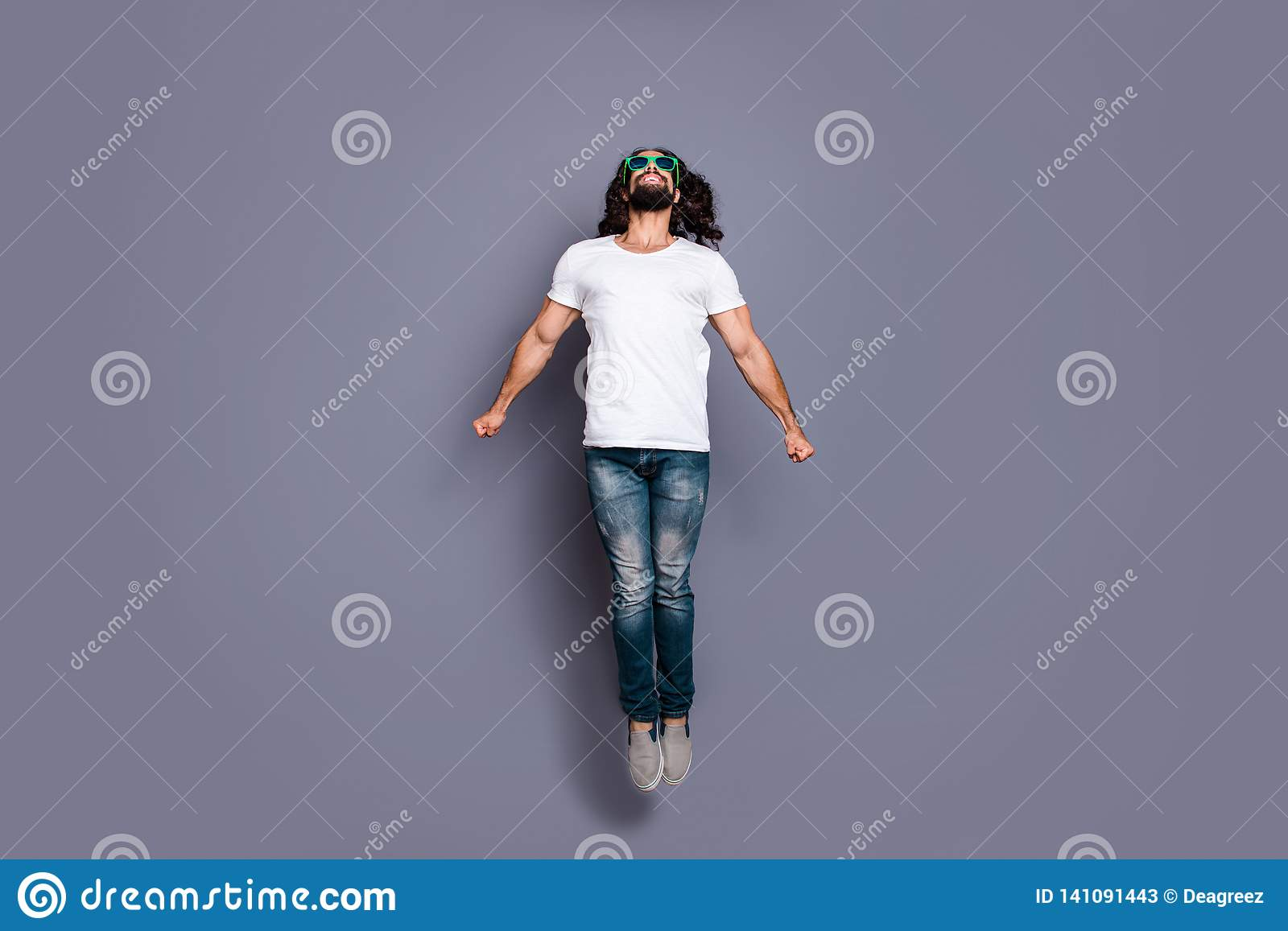 Full Length Body Size Profile Side View Portrait Of His He Nice Cool Free Attractive Cheerful Cheery Wavy Haired Guy Stock Image Image Of Dream Eastern 141091443