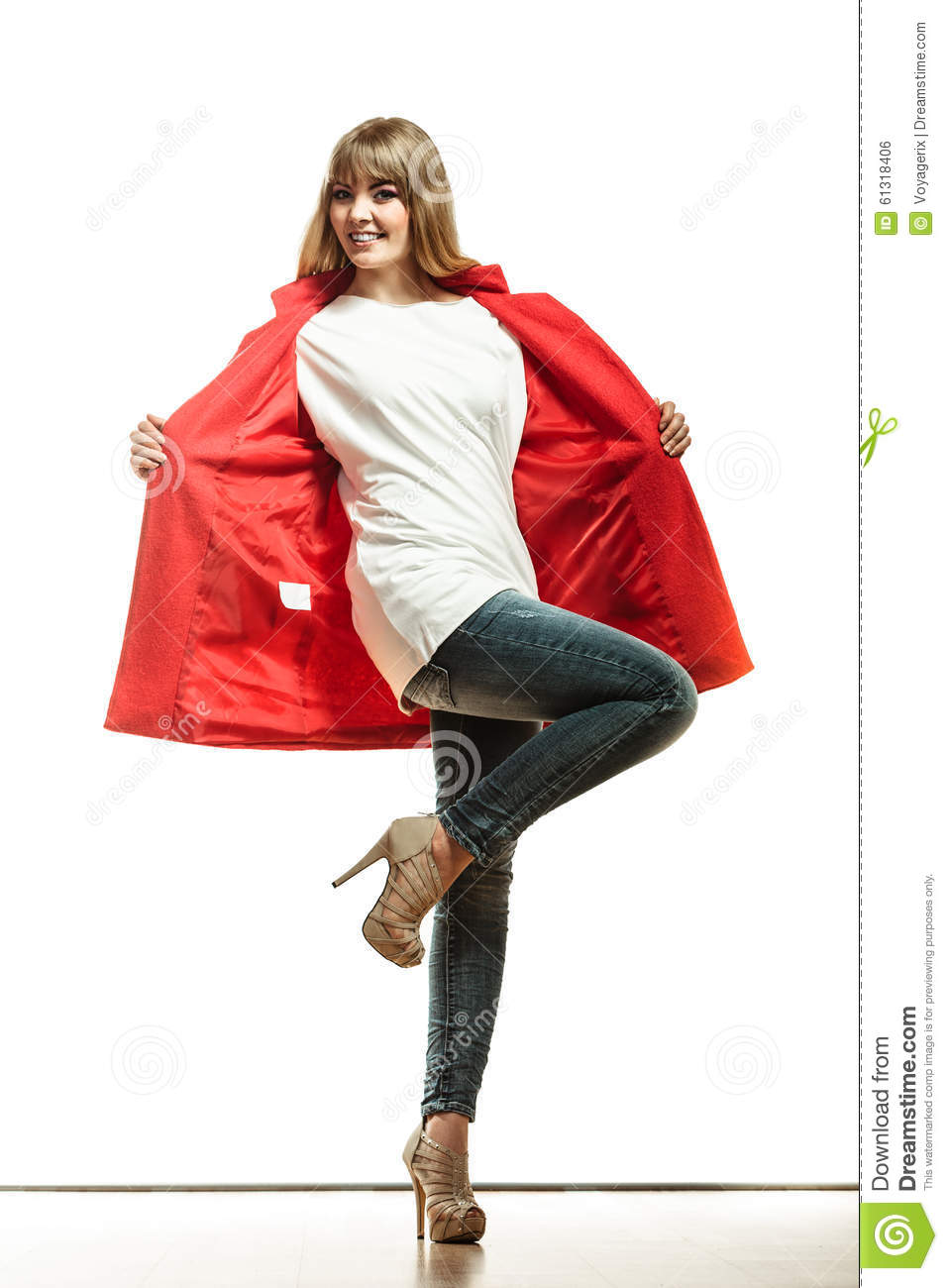 Full Length Fashion Woman In Red Coat. Stock Photo - Image: 61318406