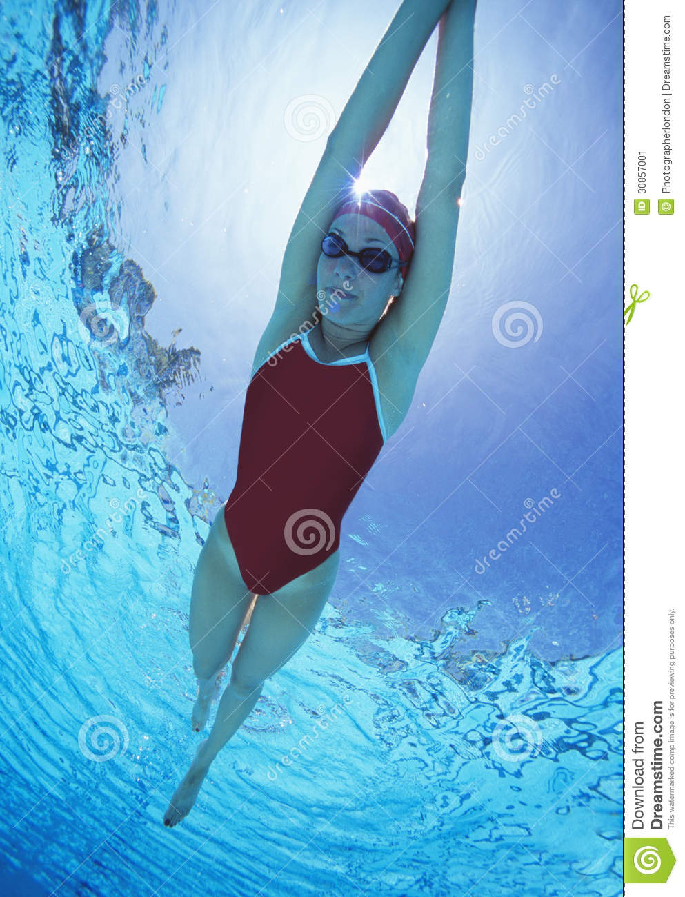 Full Length Of Female Swimmer In United States With Arms Raised Swimsuit Swimming In Pool Stock