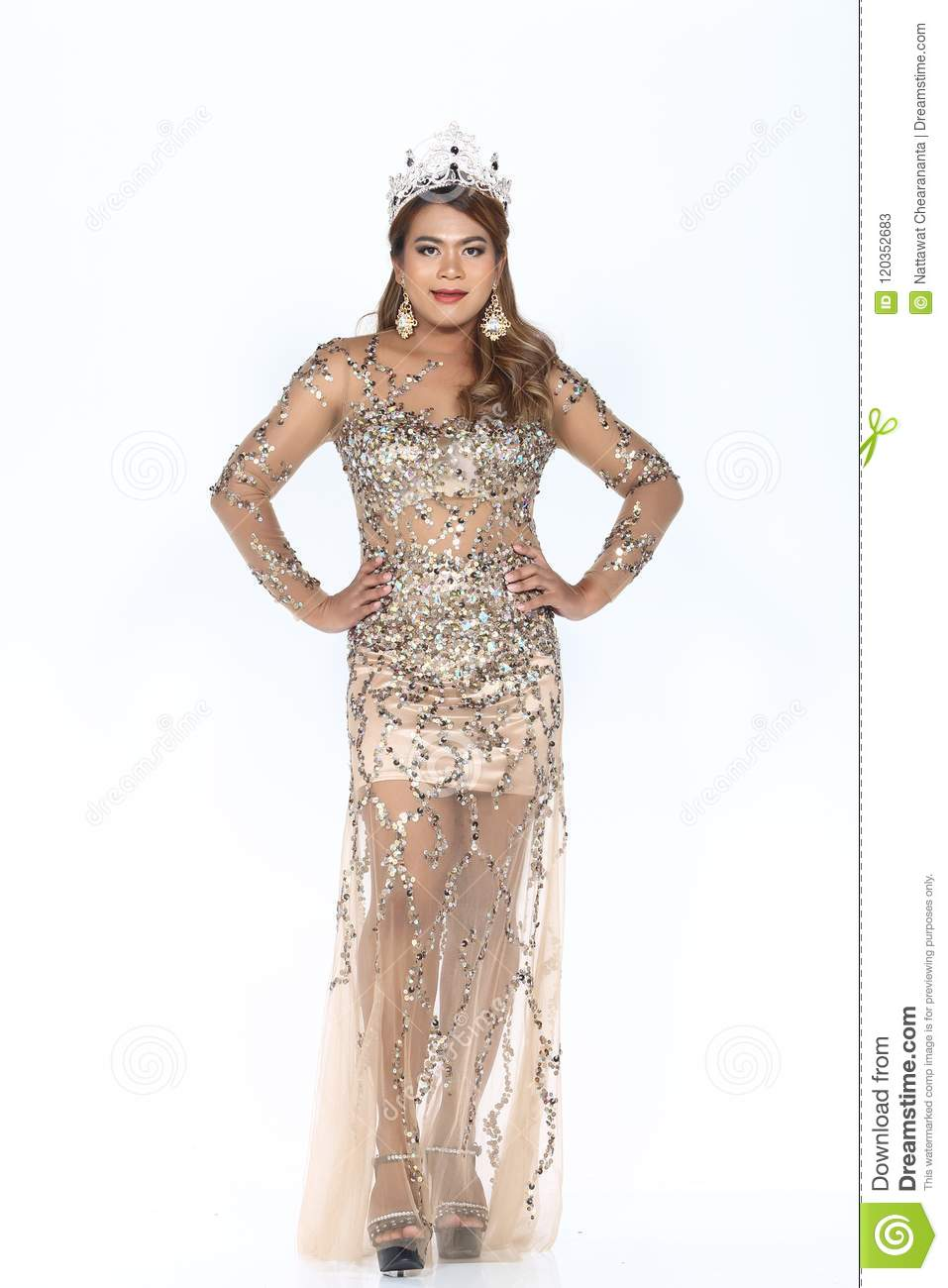 Miss Pageant Contest In Evening Ball Gown Long Ball Dress With D ...