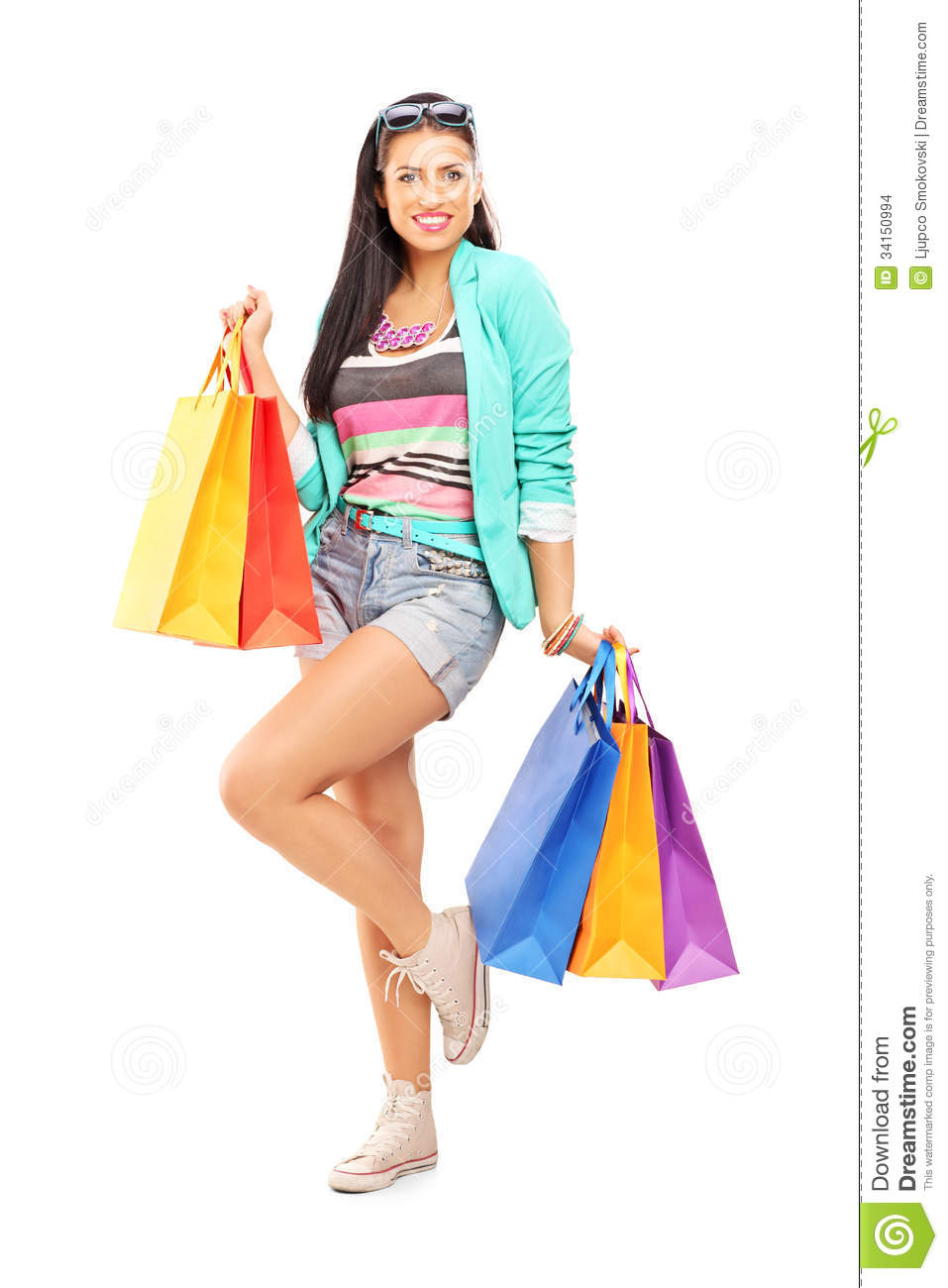 Woman posing with shopping bags isolated on white background full - Attractive Background Casual Female Full Isolated Length Portrait Posing Shopping White Clothes Bag
