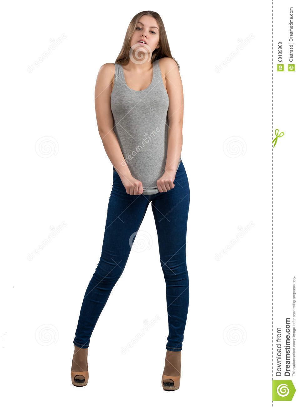 Full Length Portrait Of Attractive And Hot Girl In Casual Clothes ...