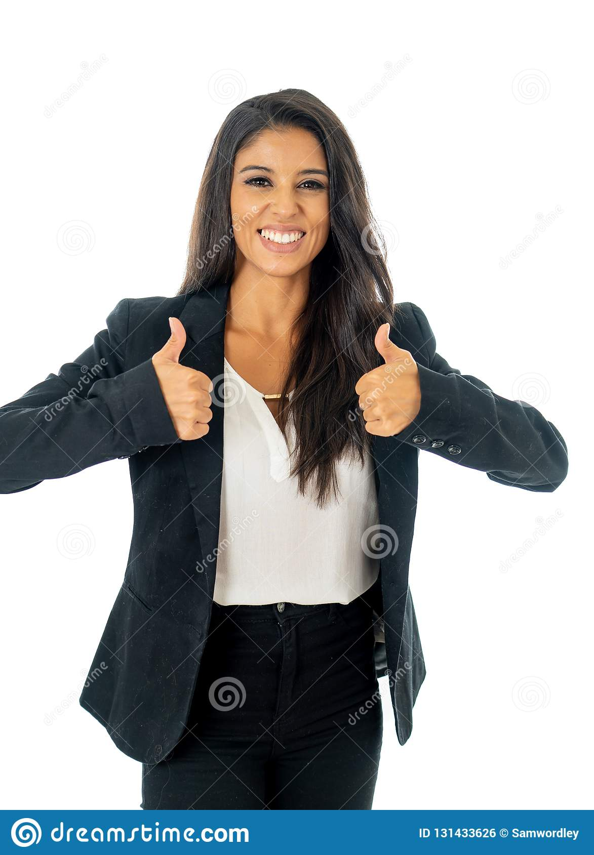 Full length portrait of Attractive latin corporate latin woman looking excited and making thumb up sign in Creative success and