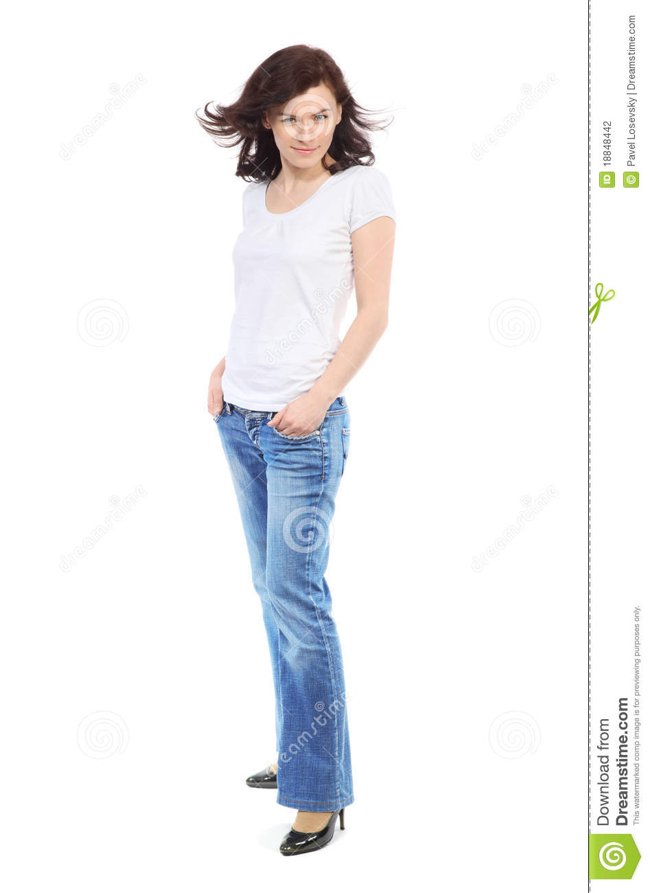 Full-length portrait of beautiful girl in jeans