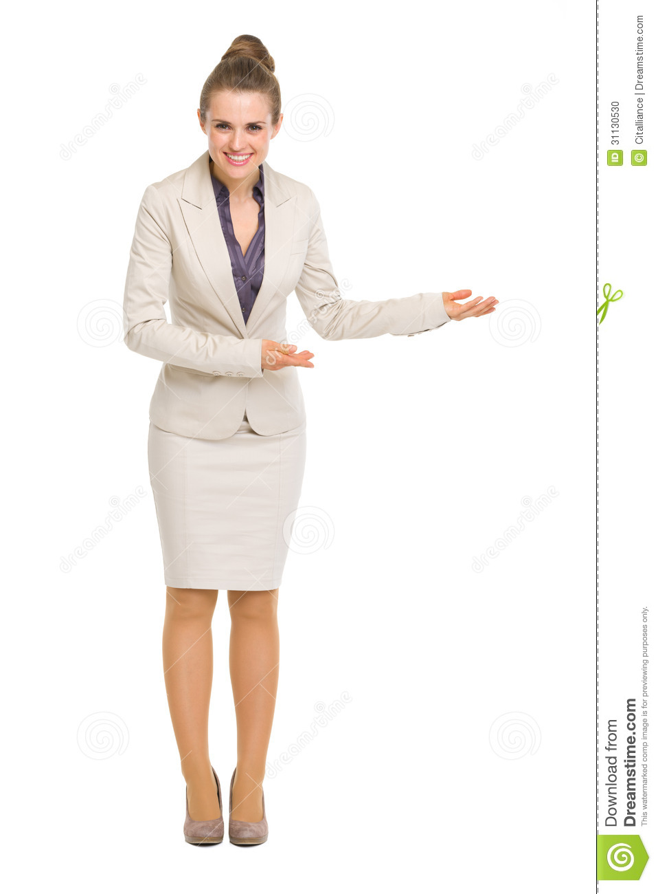 Full Length Portrait Of Business Woman Inviting Stock Photo Image