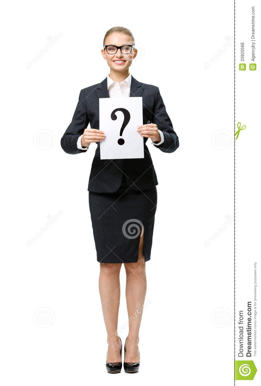 Full-length portrait of business woman with question mark
