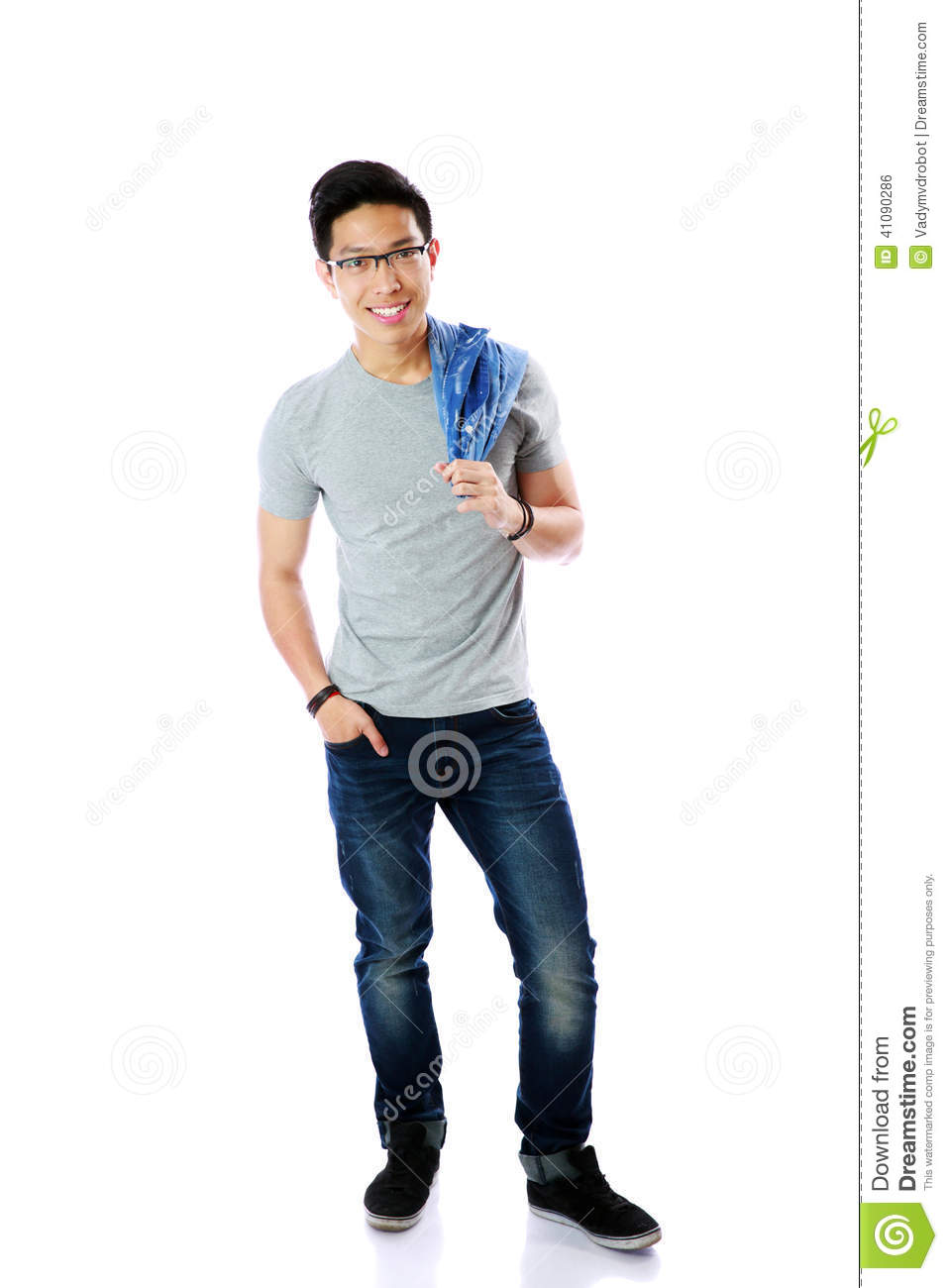 Full Length Portrait Of A Casual Man Standing Stock Photo