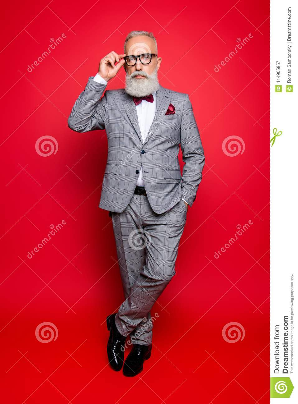 Full length portrait of cool stunning stylish trendy old man in