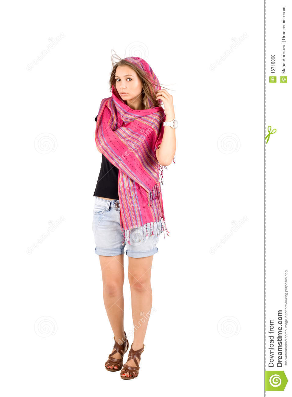 Full length portrait of a girl in scarf