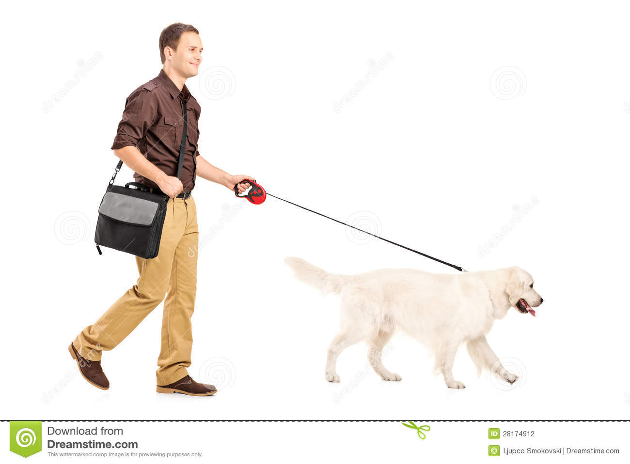 ... portrait of a guy with shoulder bag walking a dog on white background Smiling Dog And Cat