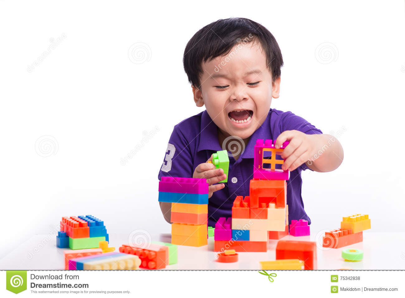 Kid Playing With Block Toys Asian Small Boy Playing Indoor Games