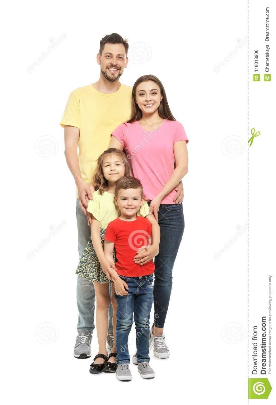 Portrait of happy family with cute children on white background