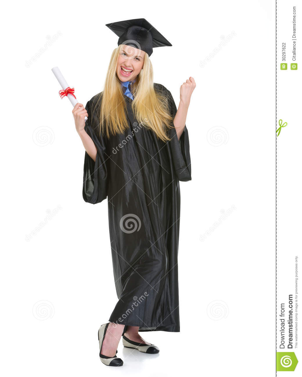 Happy Young Woman In Graduation Gown With Diploma Stock Photo ...