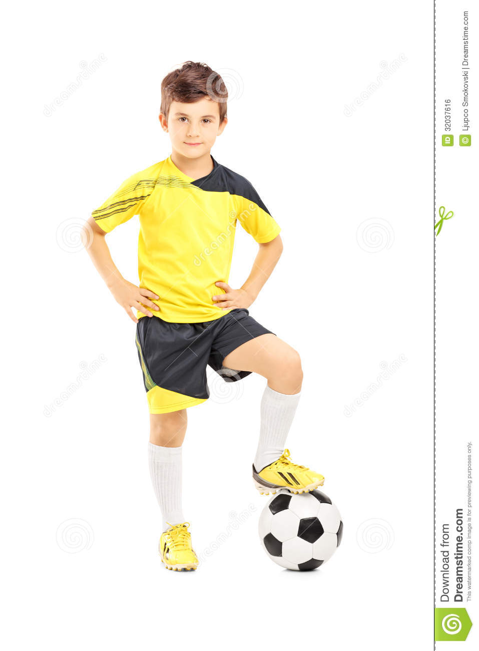 Full Length Portrait Of A Kid In Sportswear Posing With A Ball Royalty ...