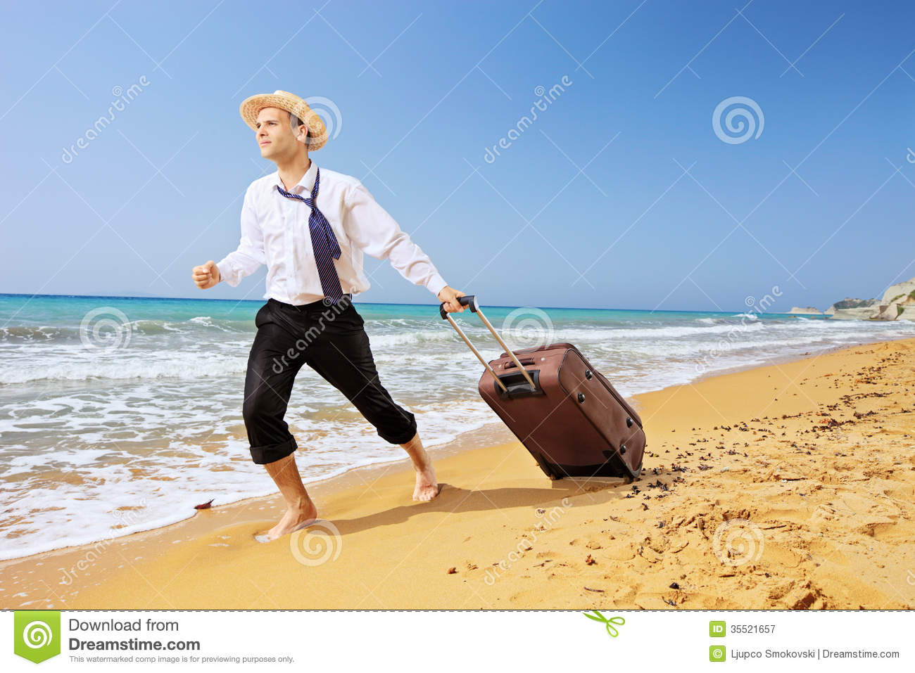 Full length portrait of a lost businessman carrying a suitcase a