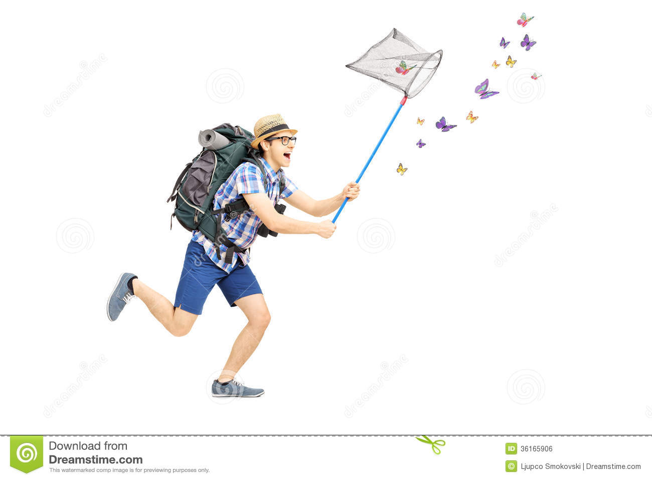 Male Catching Butterflies With Net In A Park Stock Image Image Of