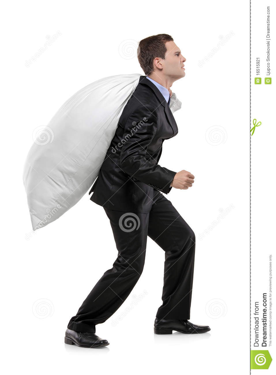Full Length Portrait Of A Man Carrying A Money Bag Stock Image ...