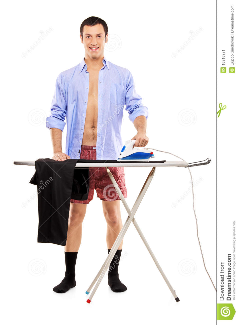 full length portrait of a man ironing stock image image