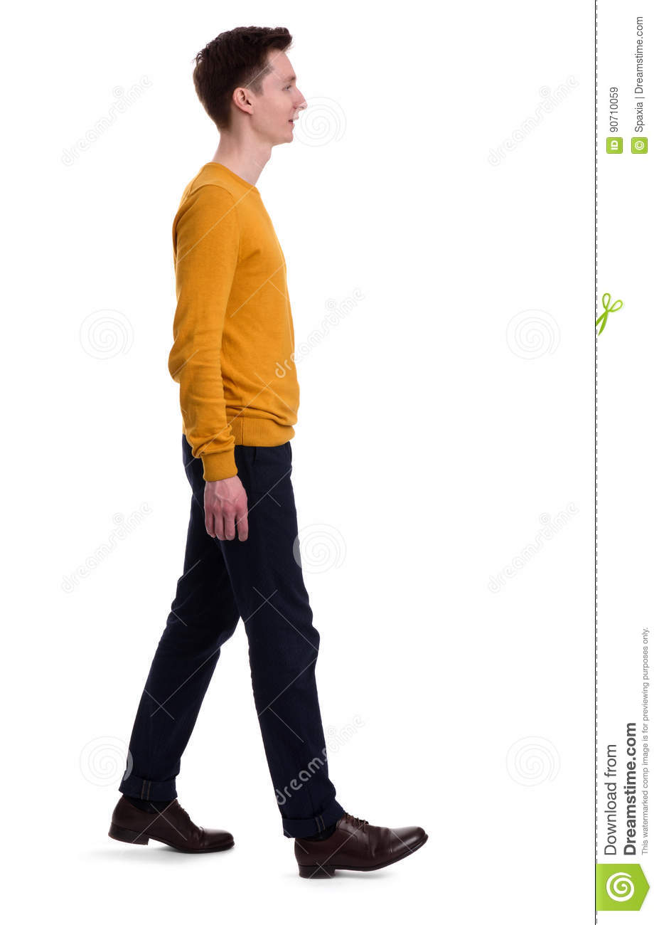 Full length portrait of a man walking. Isolated