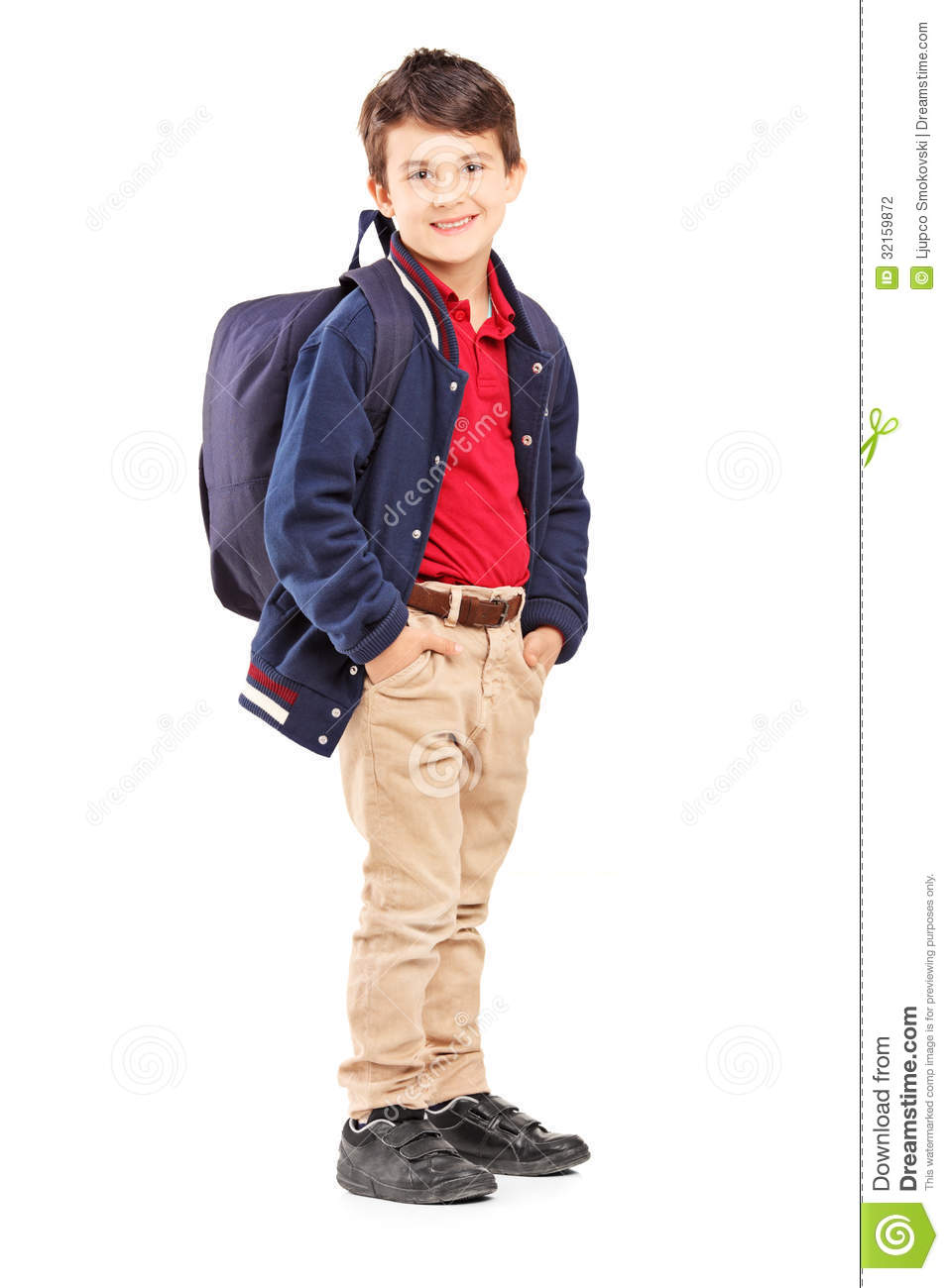 Full Length Portrait Of A School Boy With Backpack ...
