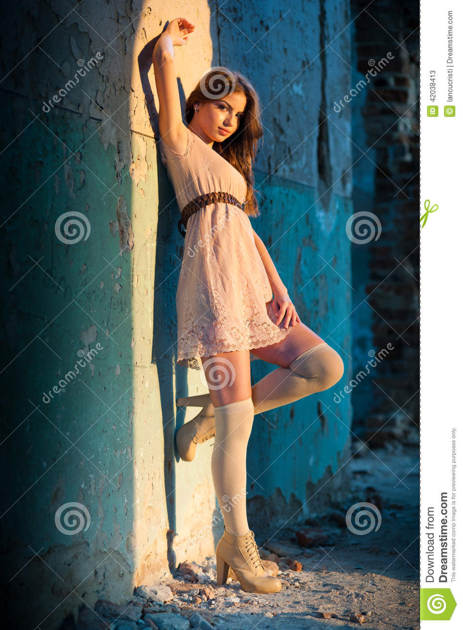 full length portrait of sensual girl in old house stock image