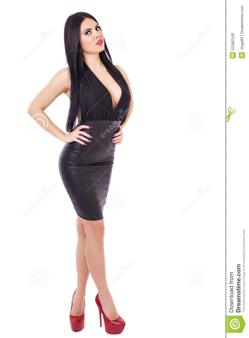 Full Length Portrait Of Young Brunette Woman Wearing A Blac Stock