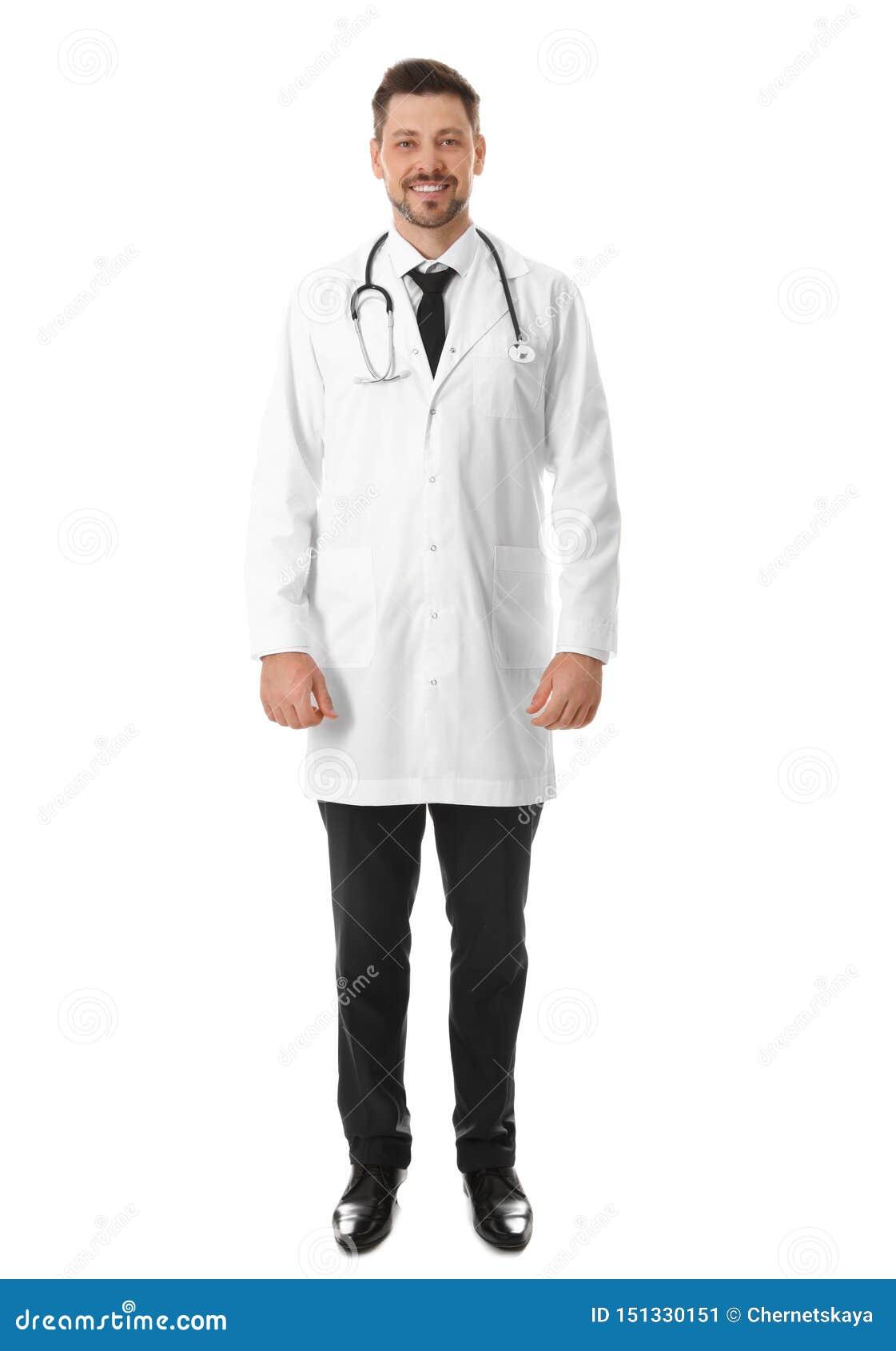 Full length portrait of smiling male doctor. Medical staff