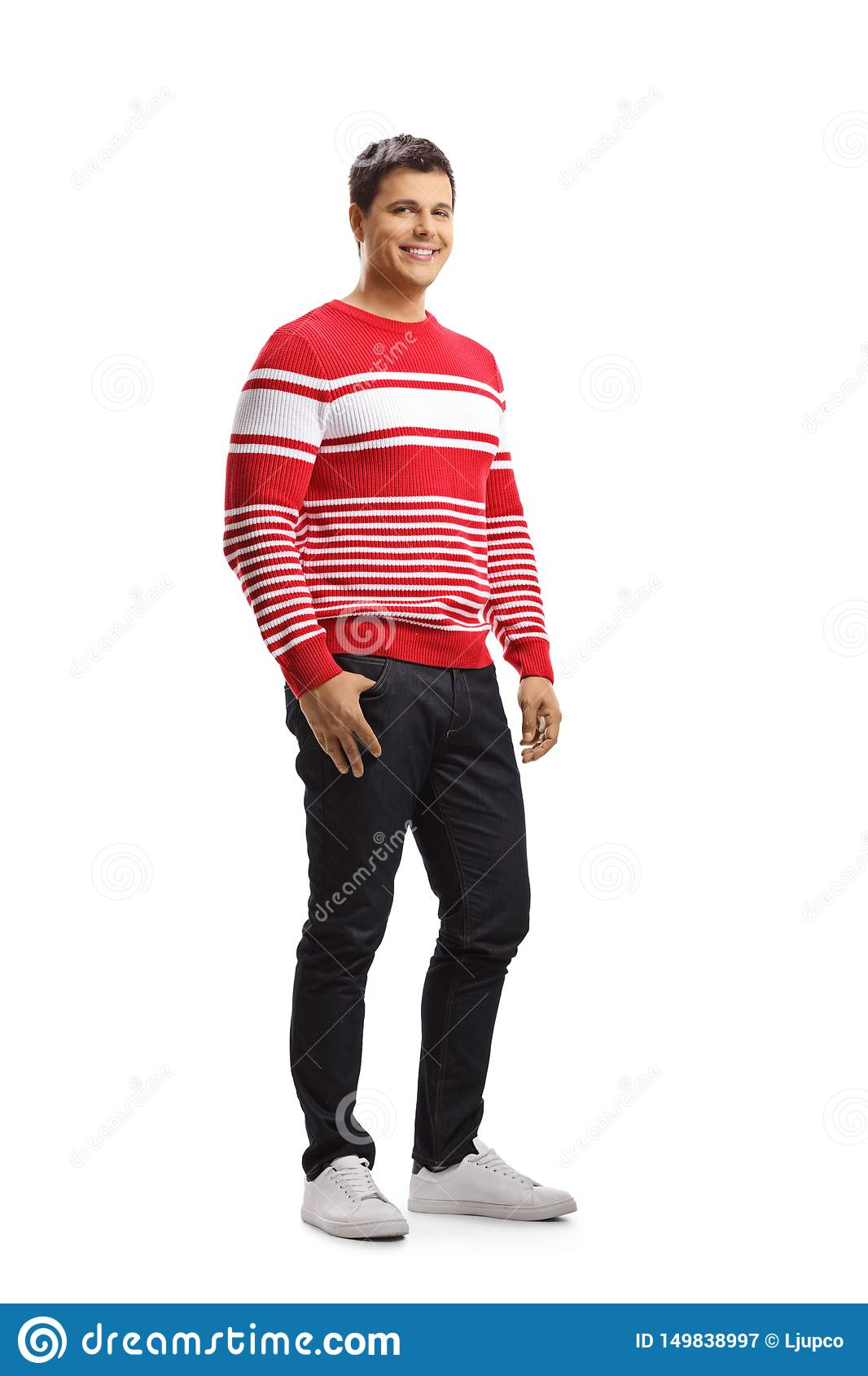 Smiling young man in a red sweater