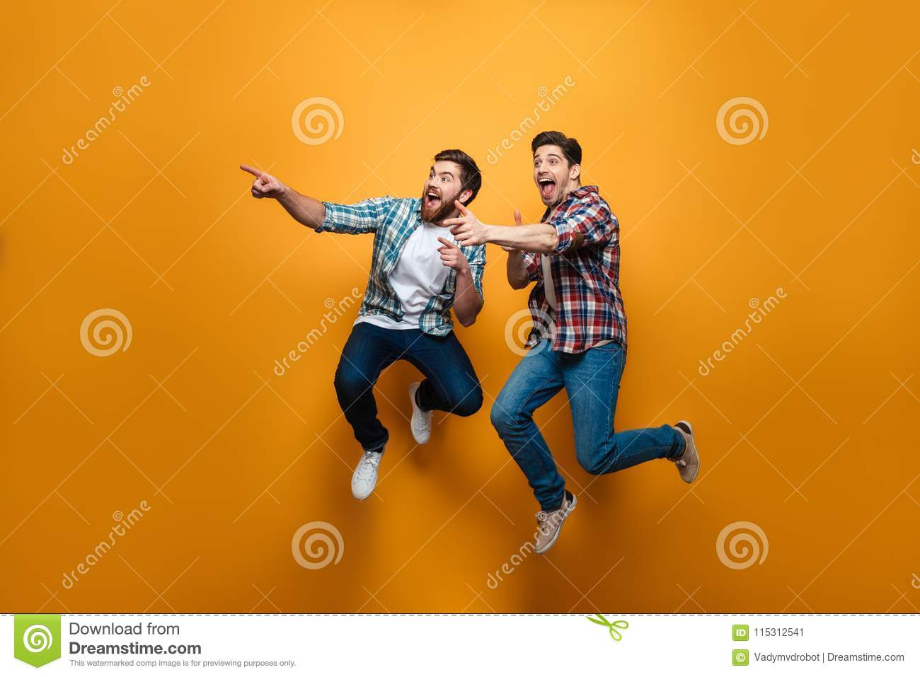Full length portrait of a two excited young men pointing