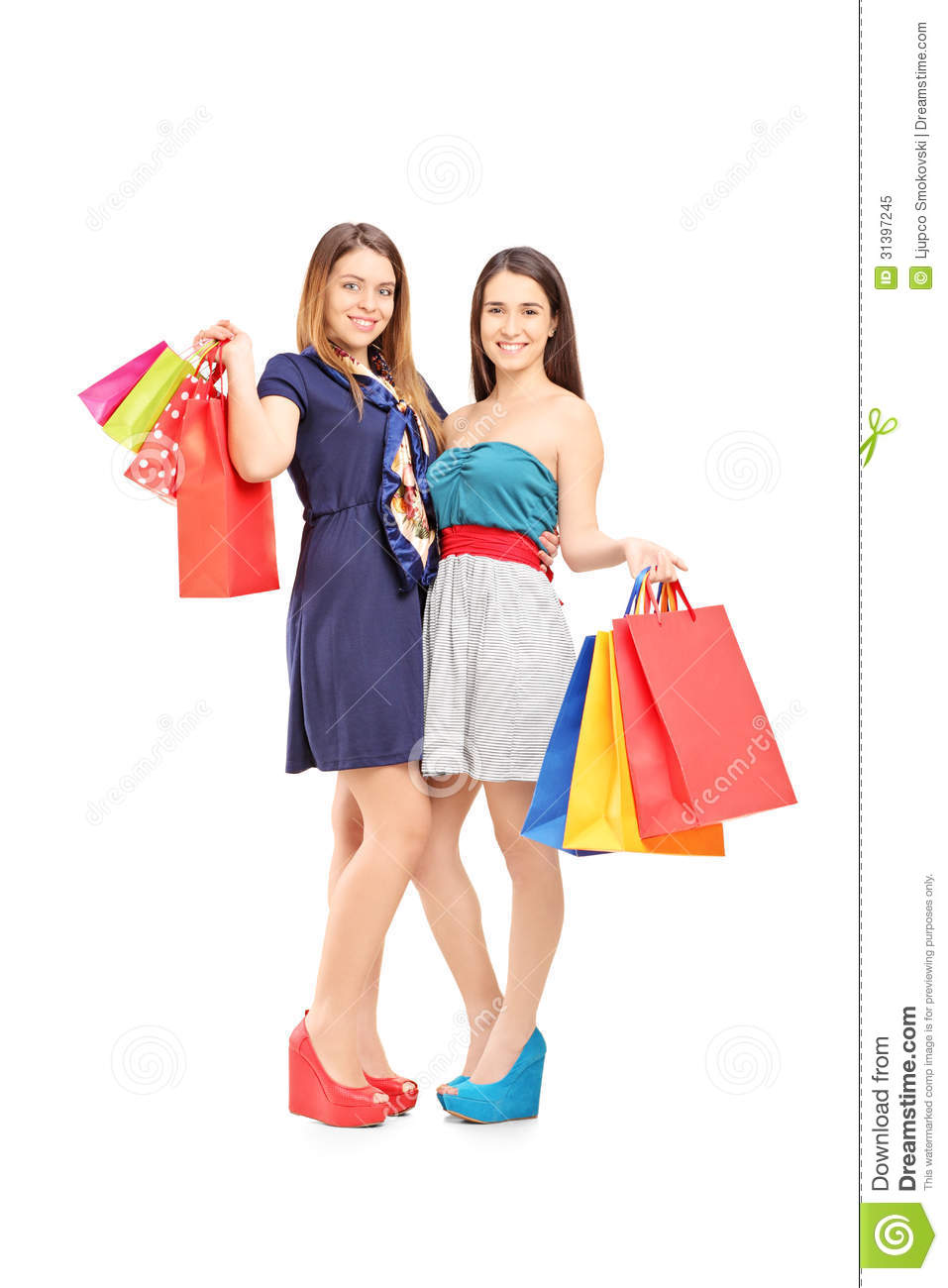 Woman posing with shopping bags isolated on white background full - Full Length Portrait Of Two Female Friends Holding Shopping Bags Royalty Free Stock Photo Background Female Full Holding Isolated Portrait Posing