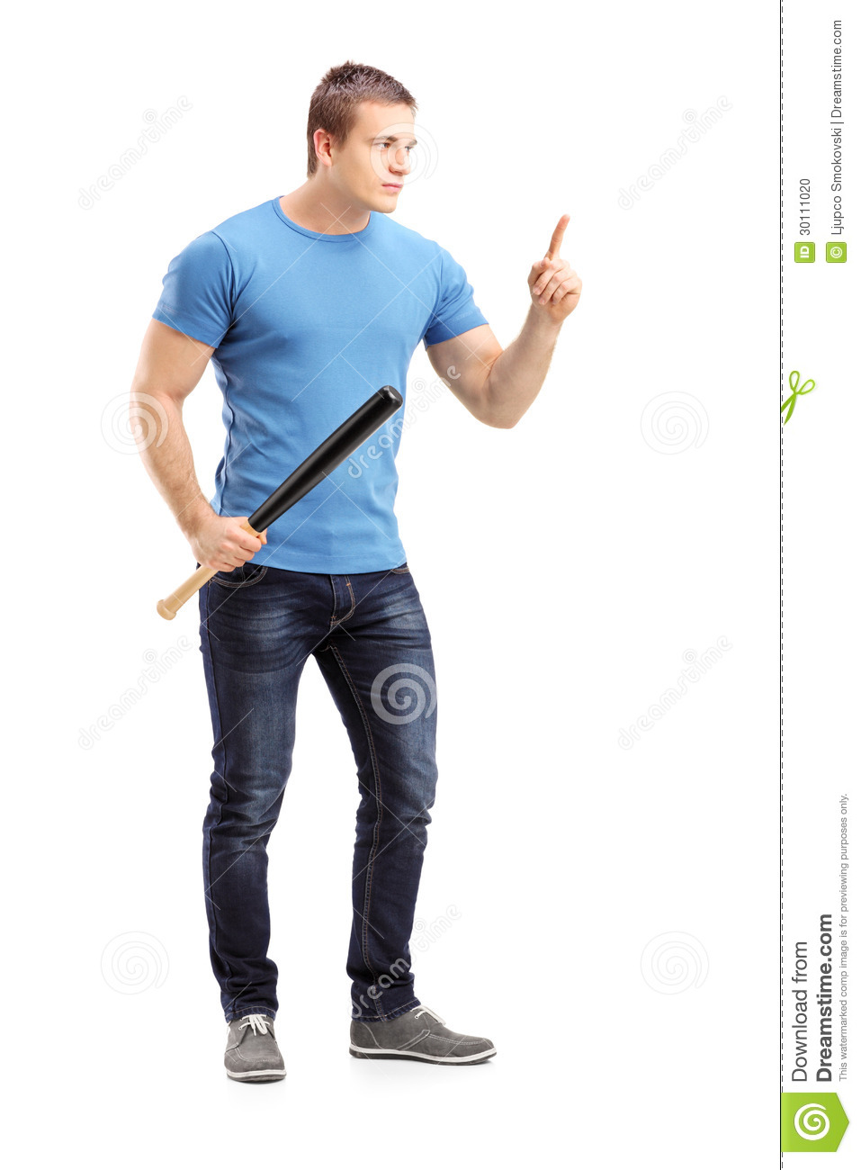 full length portrait of a violent young man holding a