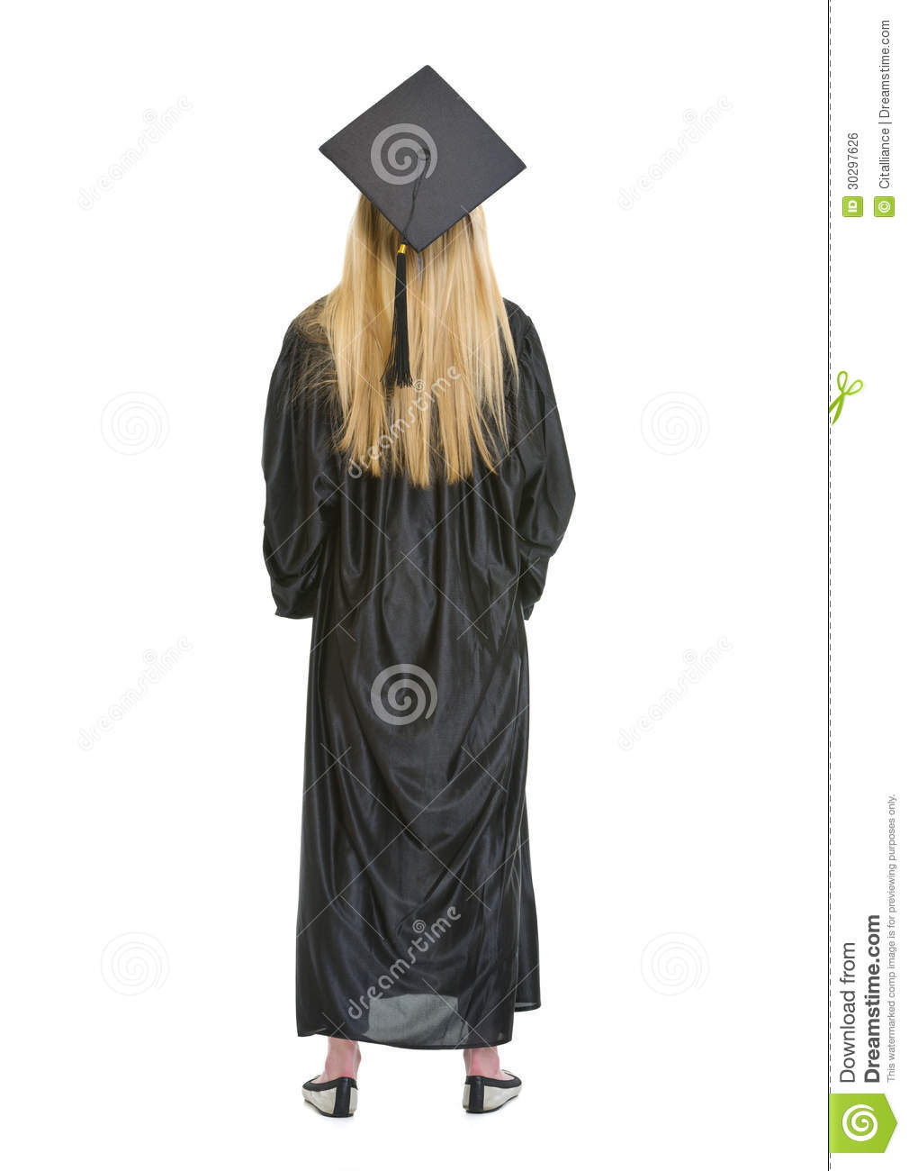 Full Length Portrait Of Woman In Graduation Gown Stock Photo - Image ...