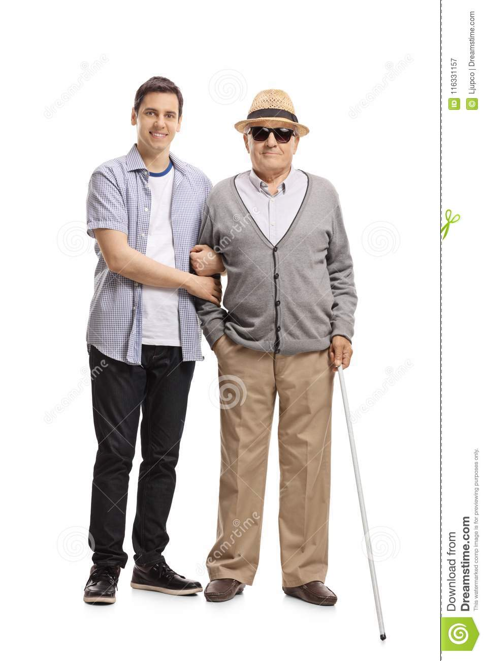 Young man and a blind mature man