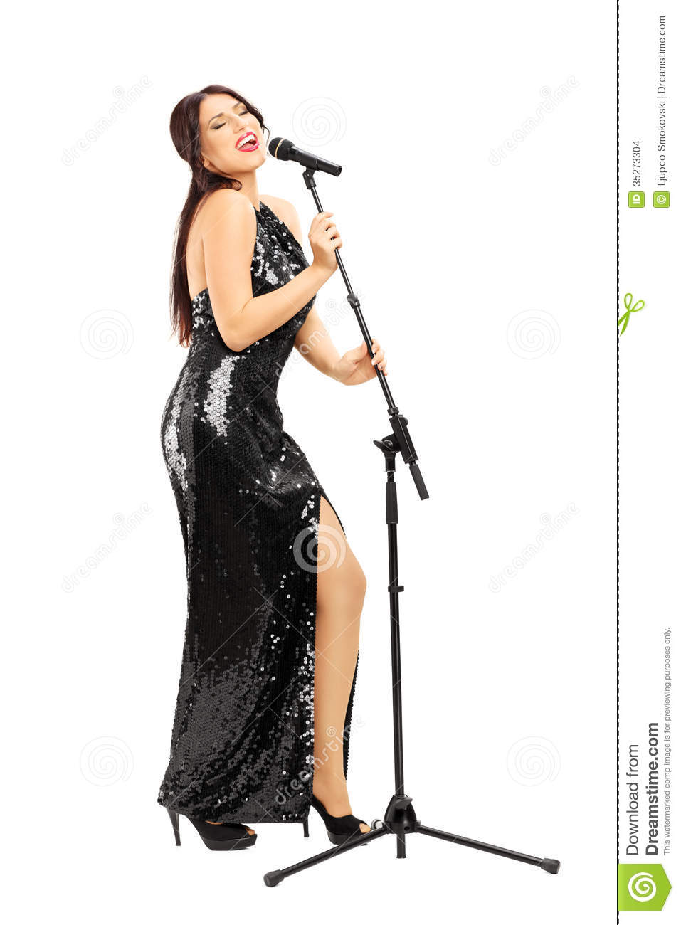 full length portrait of a young woman in black dress