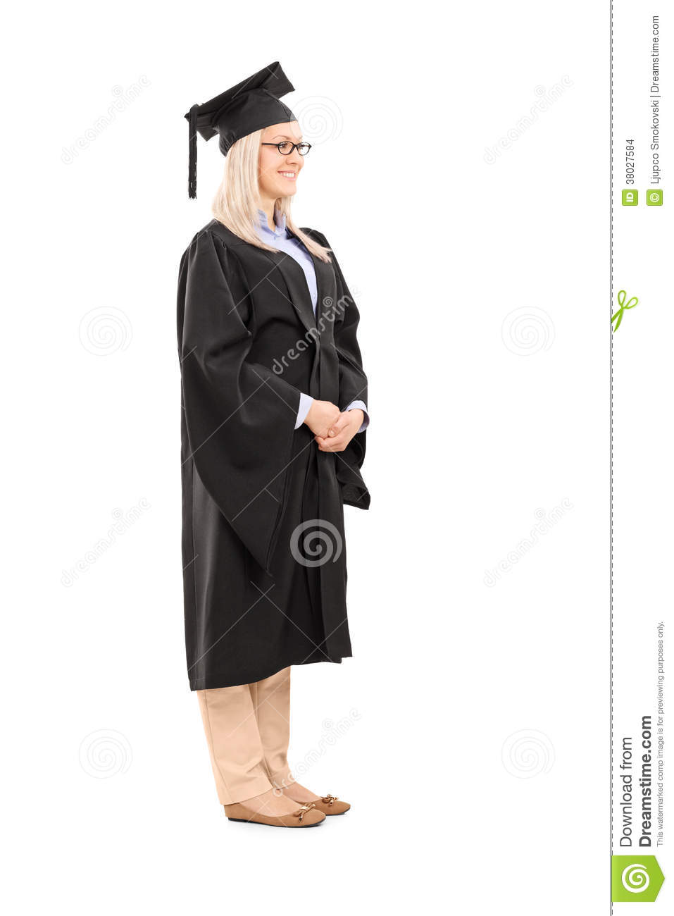 Full Length Portrait Of Young Woman In Graduation Gown Stock Photo ...