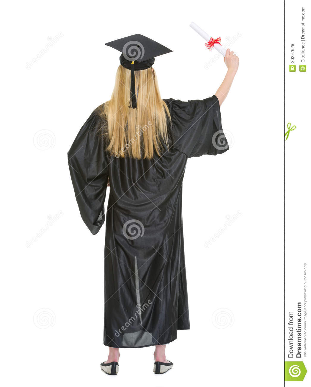 Full Length Portrait Of Woman In Graduation Gown Royalty Free ...