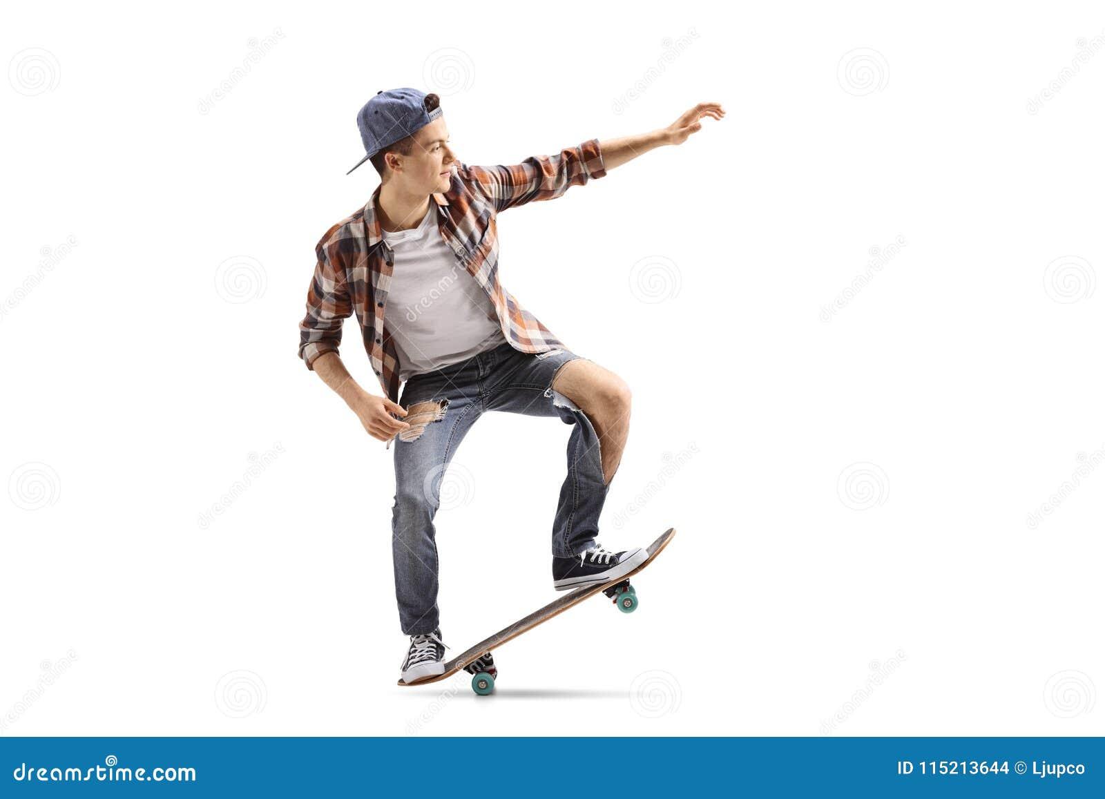Teenage skater doing a manual