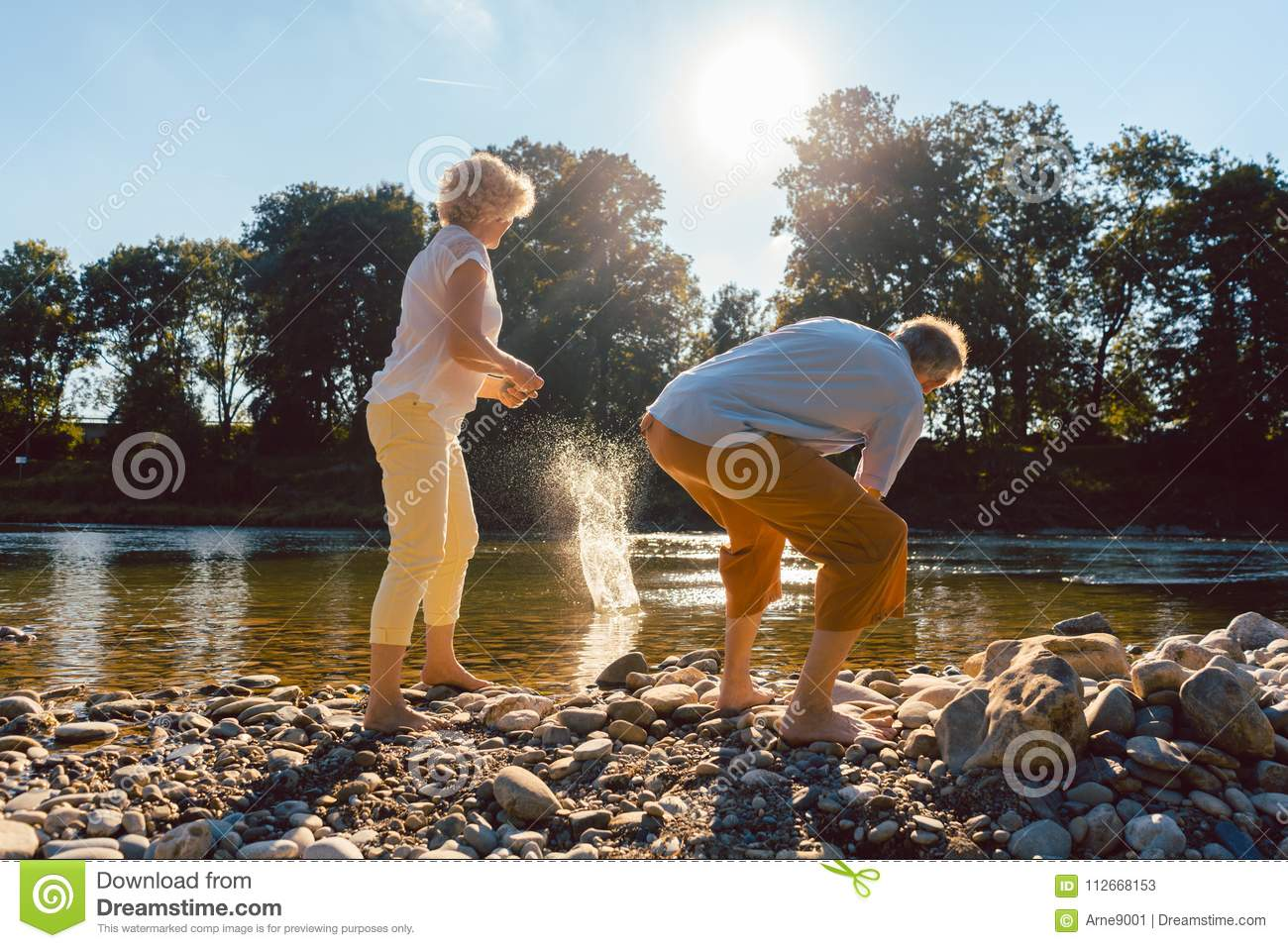 Two senior people enjoying retirement and simplicity