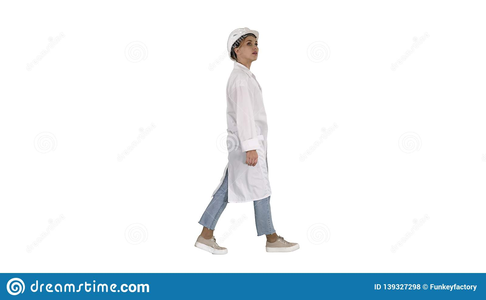 Engineer woman walking and checking the object on white background.