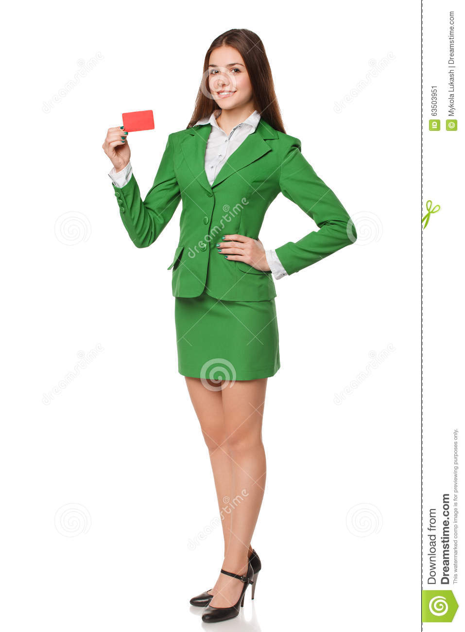 full-length-smiling-business-woman-showi