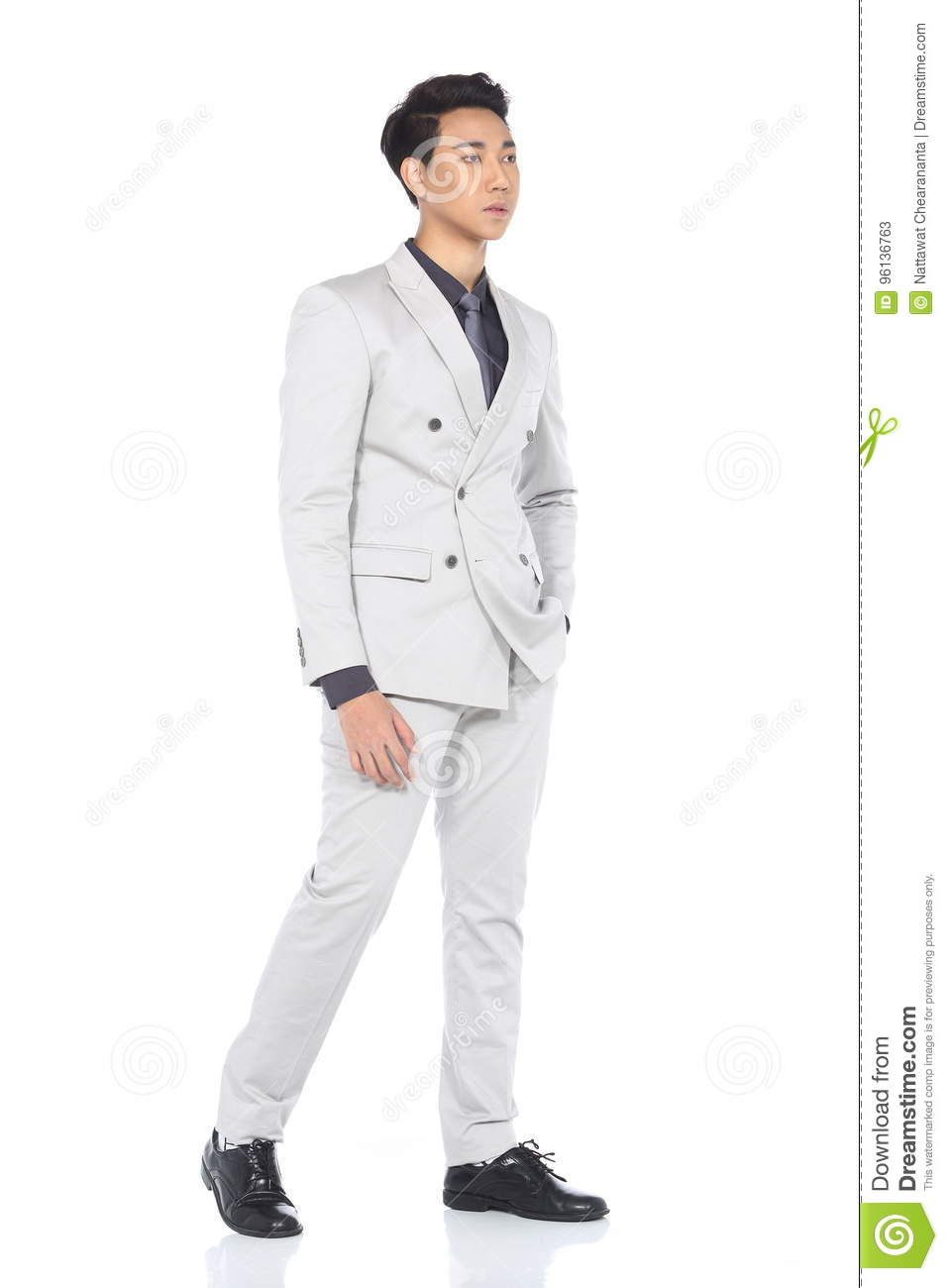 Man Stand In Gray Suit Pants A Stock