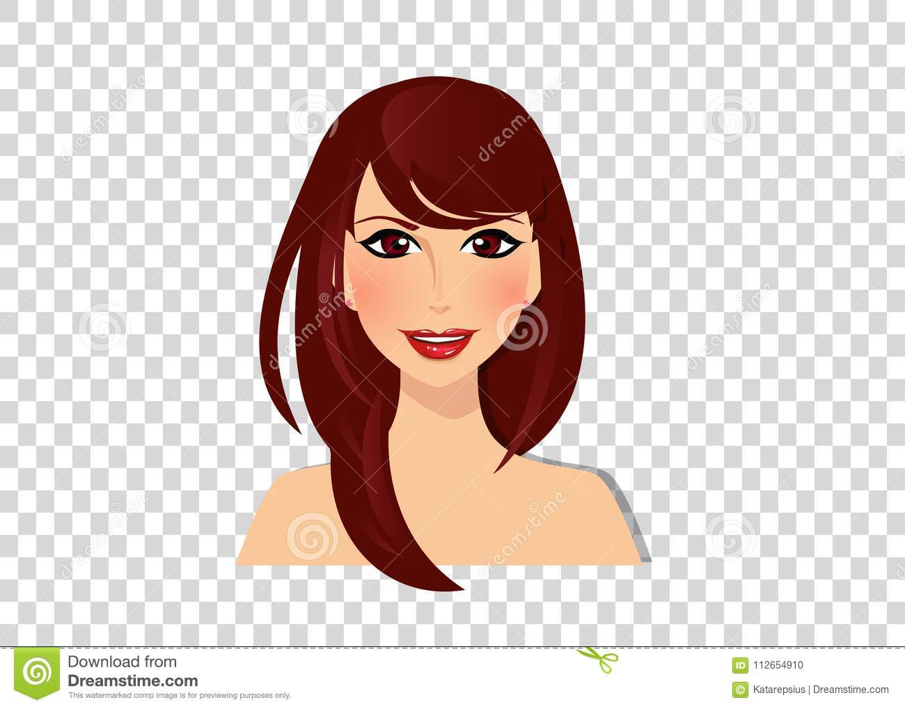 Beautiful Brunette Girl With Hazel Eyes And Magnificent Brown Dark Chocolate Color Long Hair Stock Vector Illustration Of Beauty Icon 112654910