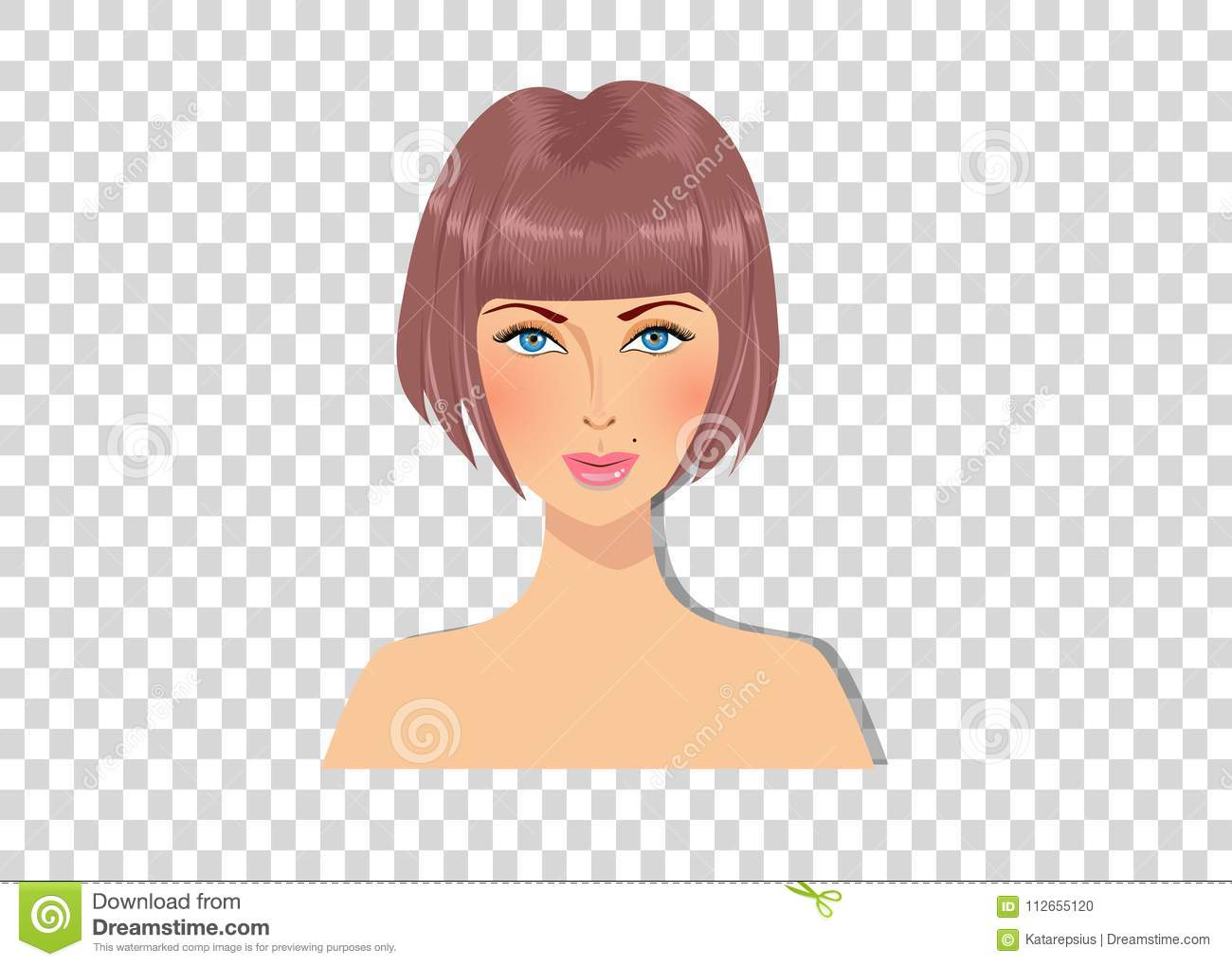 Beautiful Brown Haired Girl With Blue Eyes And Magnificent Bob Hairstyle Caramel Brown Color Hair Stock Vector Illustration Of Head Brunette 112655120