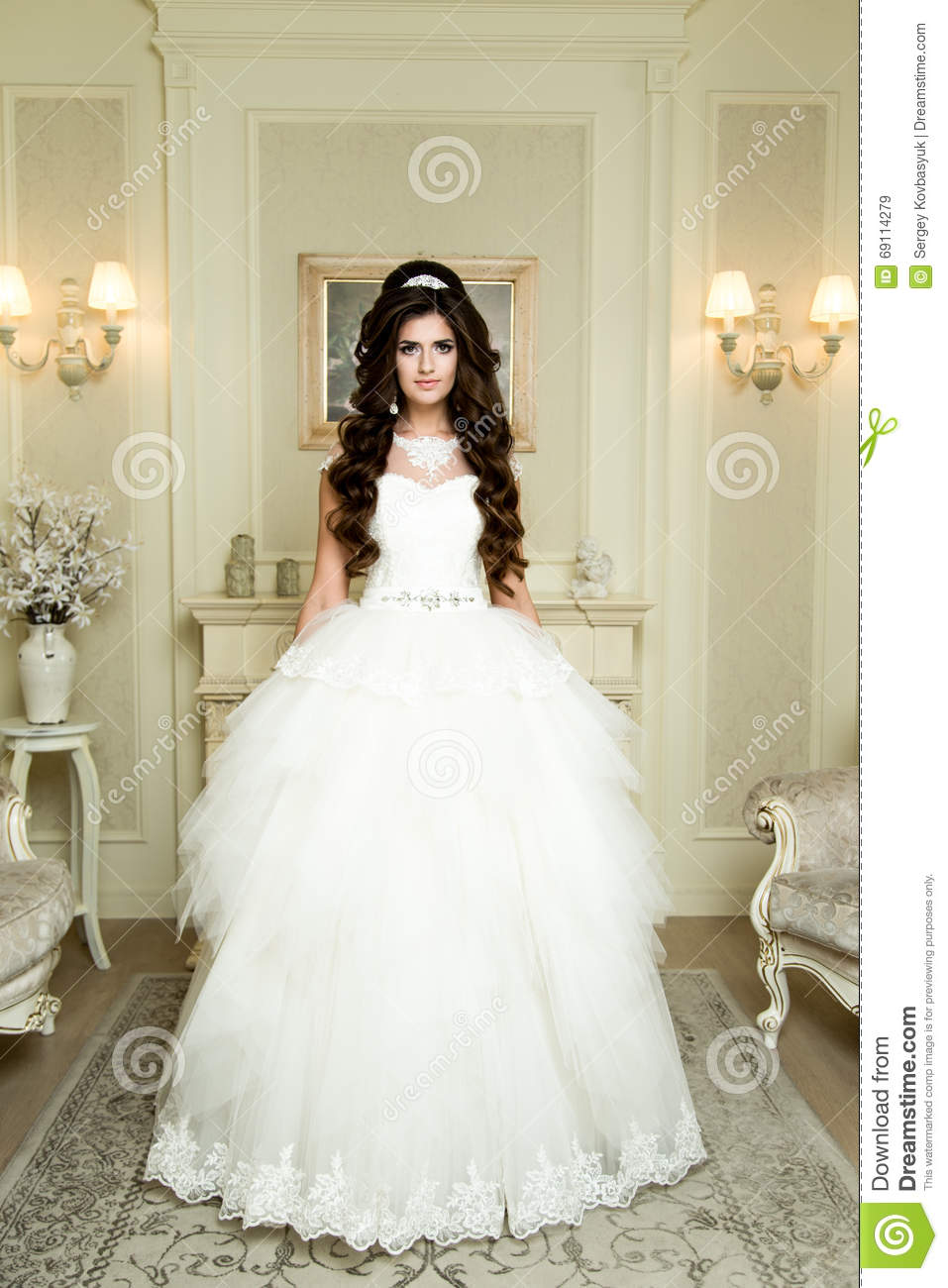 Full Length View On Beautiful Woman Posing In A Wedding Dress Makeup And Hairstyle With Diamond Crown Fashion Bride Model Jewelry Beauty: Beautiful Wedding Dresses With Diamonds At Websimilar.org