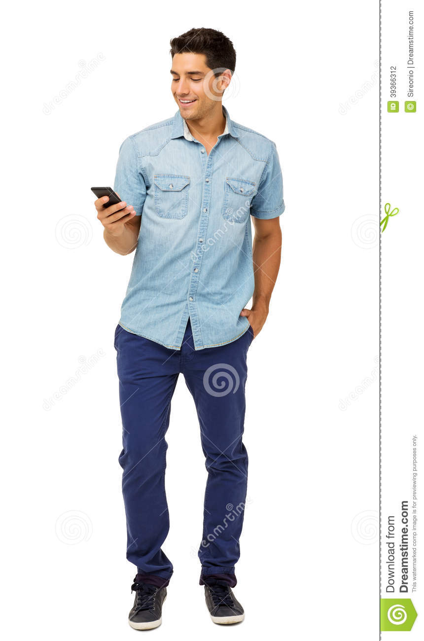 Full Length Of Young Man Reading Text Message Stock Photo ...