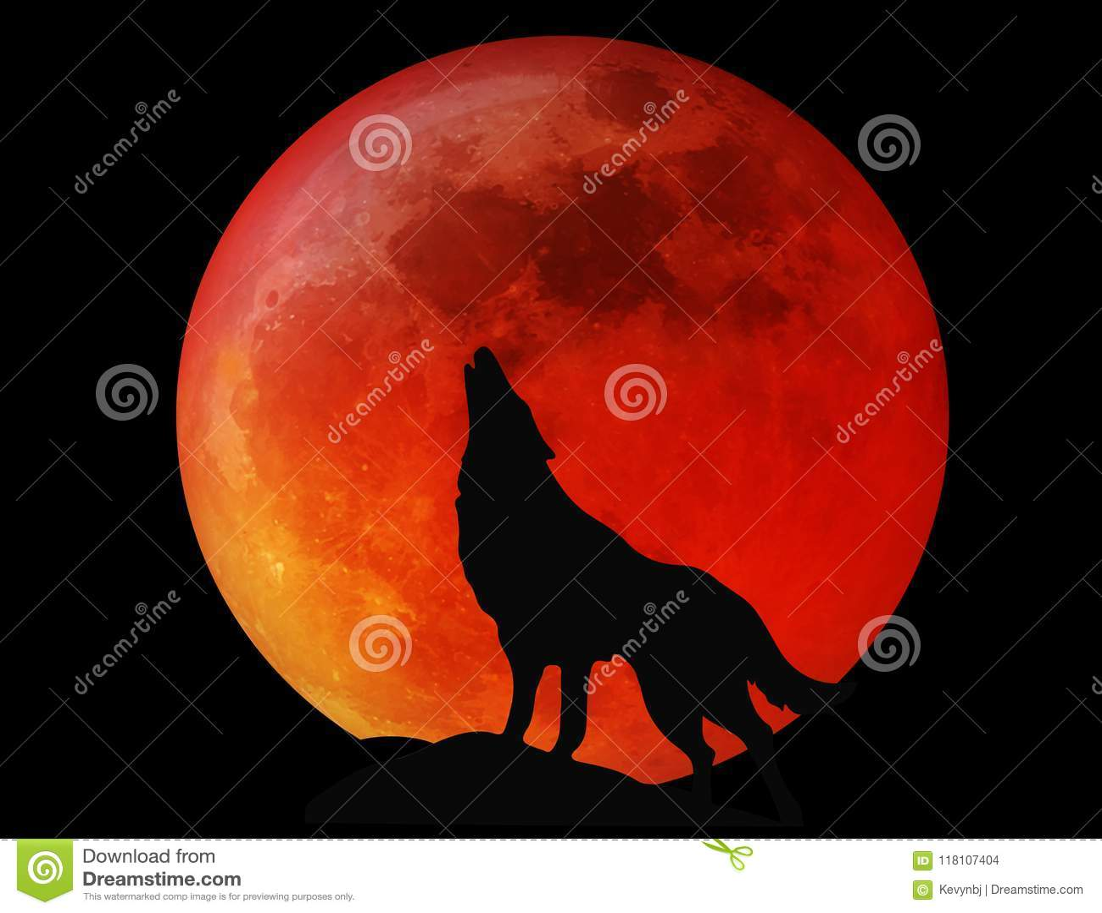 Halloween Full Moon Wolf Blood Red